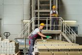 Worker and foreman on a factory — Stock Photo