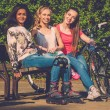 Multi ethnic group of sporty teenage girls in a park — Photo #46582751