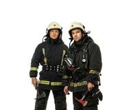 Two firefighter with axes isolated on white  — Stock Photo