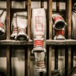 Storage room in firefighting depot with water hoses — Stock Photo #47356067
