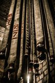 Storage room in firefighting depot with water hoses  — ストック写真