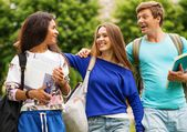 Group of multi ethnic students in a city park on summer day — Stock Photo