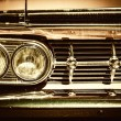 Close-up of retro car facia with chrome grille — Stock Photo