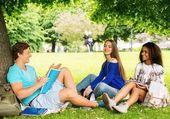 Groupe multi ethnique étudiants dans un parc de la ville — Photo