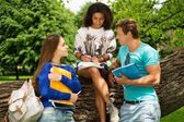 Group of multi ethnic students in a city park  — Foto Stock