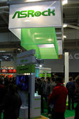 HANNOVER - MARCH 10: stand of Asrock on March 10, 2012 at CEBI — Stock Photo