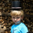 The little boy in a cylinder hat — Stock Photo