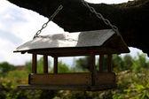 Lodge - a feeding trough for birds — Stock Photo