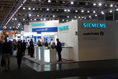 HANNOVER, GERMANY - MARCH 9: stand of Siemens on March 9, 2013 in CEBIT computer expo, Hannover, Germany. CeBIT is the world's largest computer expo. — Stock Photo