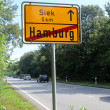 The hamburg city area road sign — Stock Photo
