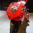 Stock Photo: HAMBURG, GERMANY - FEBRUARY 22: The red motorcycle on February 22, 2014 at HMT (Hamburger Motorrad Tage) expo, Hamburg, Germany. HMT is a large motorcycle expo