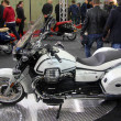 HAMBURG, GERMANY - FEBRUARY 22: The white motorcycle on February 22, 2014 at HMT (Hamburger Motorrad Tage) expo, Hamburg, Germany. HMT is a large motorcycle expo — Stock Photo