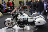 HAMBURG, GERMANY - FEBRUARY 22: The white motorcycle on February 22, 2014 at HMT (Hamburger Motorrad Tage) expo, Hamburg, Germany. HMT is a large motorcycle expo — Stock Photo
