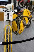 HAMBURG, GERMANY - FEBRUARY 22: The yellow motorcycle on February 22, 2014 at HMT (Hamburger Motorrad Tage) expo, Hamburg, Germany. HMT is a large motorcycle expo — Stock Photo