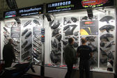 HAMBURG, GERMANY - FEBRUARY 22: The motorcycle part stand on February 22, 2014 at HMT (Hamburger Motorrad Tage) expo, Hamburg, Germany. HMT is a large motorcycle expo — Stock Photo
