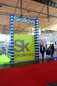 HANNOVER, GERMANY - MARCH 13: Stand of Skolkovo on March 13, 2014 at CEBIT computer expo, Hannover, Germany. CeBIT is the world's largest computer expo — Stock Photo