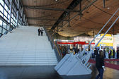 HANNOVER, GERMANY - MARCH 13: Stairs in the expo hall on March 13, 2014 at CEBIT computer expo, Hannover, Germany. CeBIT is the world's largest computer expo — Stock Photo
