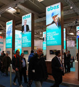 HANNOVER, GERMANY - MARCH 13: The stand of Abas on March 13, 2014 at CEBIT computer expo, Hannover, Germany. CeBIT is the world's largest computer expo — Stock Photo