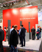 HANNOVER, GERMANY - MARCH 13: The stand of Tisoware on March 13, 2014 at CEBIT computer expo, Hannover, Germany. CeBIT is the world's largest computer expo — Stock Photo