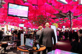 HANNOVER, GERMANY - MARCH 13: The stand of Deutsche Telekom on March 13, 2014 at CEBIT computer expo, Hannover, Germany. CeBIT is the world's largest computer expo — Stock Photo