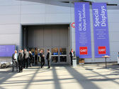 HANNOVER, GERMANY - MARCH 13: The covered passageway between expo halls on March 13, 2014 at CEBIT computer expo, Hannover, Germany. CeBIT is the world's largest computer expo — Stock Photo