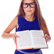 Portrait of beautifu girl posing on white background with book — Stock Photo