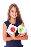 Portrait of beautifu girl posing on white background with box — Stock Photo
