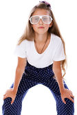 Portrait of beautifu girl posing on white background with glasse — Stock Photo