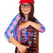 A young girl with an abacus — Stock Photo