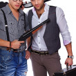 Two men armed with shotguns — Stock Photo #13184494