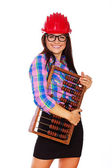 A portrait of a girl with an abacus — Stock Photo