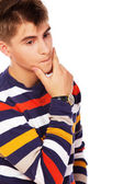 Portrait of sleazy young man posing on white background — Stock Photo