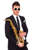 A stylish young musician — Stock Photo