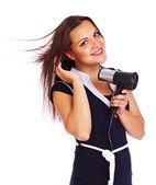 Ritratto di bella donna in posa su sfondo bianco con i capelli — Foto Stock