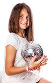 Retrato de muchacha hermosa posando sobre fondo blanco con discoteca — Foto de Stock