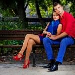 Portrait of couple posing in park — Stock Photo #13641788