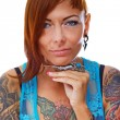 Stock Photo: Girl with tattoos.