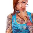 A young girl with tattoos - Stock Photo