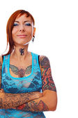 A girl with tattoos — Stock Photo