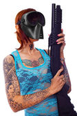 An armed punk girl — Stock Photo