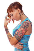 Girl with tattoos. — Stock Photo
