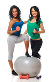 Portrait of 2 beautiful girl posing in studio with dumbbells — Stock Photo