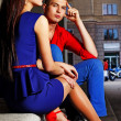 Portrait of beautiful couple posing in city - 图库照片