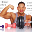 Attractive man posing in a studio with dumbbells — Stock Photo #20176217