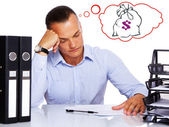 Businessman working and thinking about wealth — Stock Photo