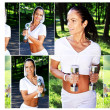 Collage of sporty woman in the park - Stock Photo