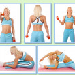Blond womis demonstrating exercises on camera — Stock Photo #21675143