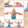 Stock Photo: Fitness trainer is demonstrating how to stretch and few excerc