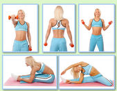 Blond woman is demonstrating exercises on the camera — Stock Photo