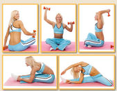 Trainer is demonstrating some exercises with dumbbells — Stock Photo